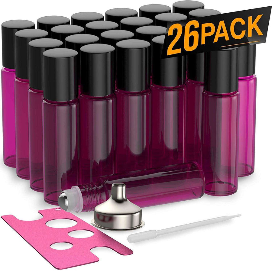 26 Pack - Essential Oil Roller Bottles [Metal Chrome Roller Ball] FREE Plastic Pippette, Funnel and Bottle Opener Refillable Glass Color Roll On for Fragrance Essential Oil - 10 ml 1/3 oz (Purple)