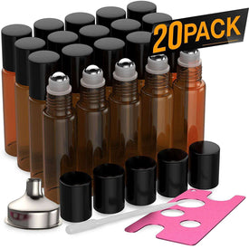 20 Pack - Essential Oil Roller Bottles [Metal Chrome Roller Ball] FREE Plastic Pippette, Funnel and Bottle Opener Refillable Glass Color Roll On for Fragrance... Oil BargzOils