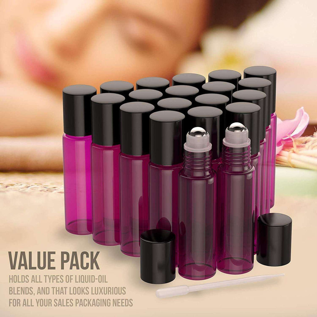 20 Pack - Essential Oil Roller Bottles [Metal Chrome Roller Ball] FREE Plastic Pippette, Funnel and Bottle Opener Refillable Glass Color Roll On for Fragrance Essential Oil - 10 ml 1/3 oz (Purple) Oil BargzOils