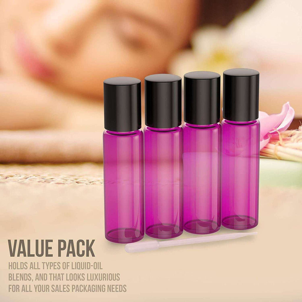 4 Pack - Essential Oil Roller Bottles [Metal Chrome Roller Ball] FREE Plastic Pippette, Funnel and Bottle Opener Refillable Glass Color Roll On for Fragrance Essential Oil - 10 ml 1/3 oz (Purple) Oil BargzOils