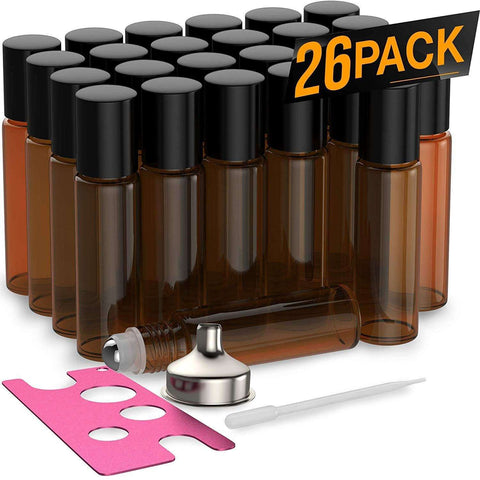 Image of 26 Pack - Essential Oil Roller Bottles [Metal Chrome Roller Ball] FREE Plastic Pippette, Funnel and Bottle Opener Refillable Glass Color Roll On for Fragrance Essential Oil - 10 ml 1/3 oz (Amber) Oil BargzOils