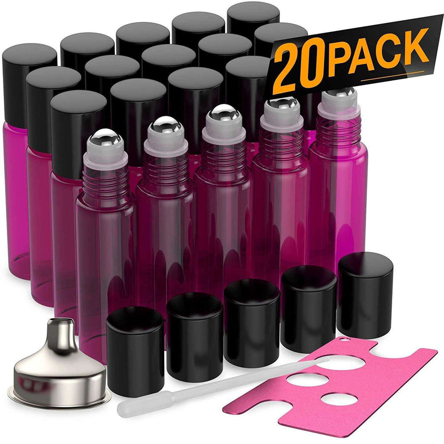 20 Pack - Essential Oil Roller Bottles [Metal Chrome Roller Ball] FREE Plastic Pippette, Funnel and Bottle Opener Refillable Glass Color Roll On for Fragrance Essential Oil - 10 ml 1/3 oz (Purple)