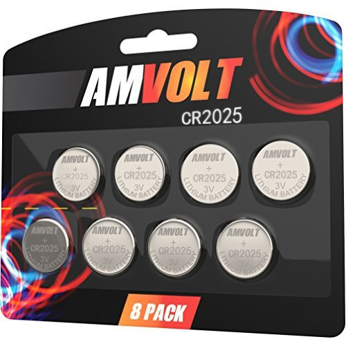 8 Pack AmVolt CR2025 Battery 3 Volt Lithium Battery Coin Button Cell for Watch, Calculator, Car Key Remote Exp Date -2022