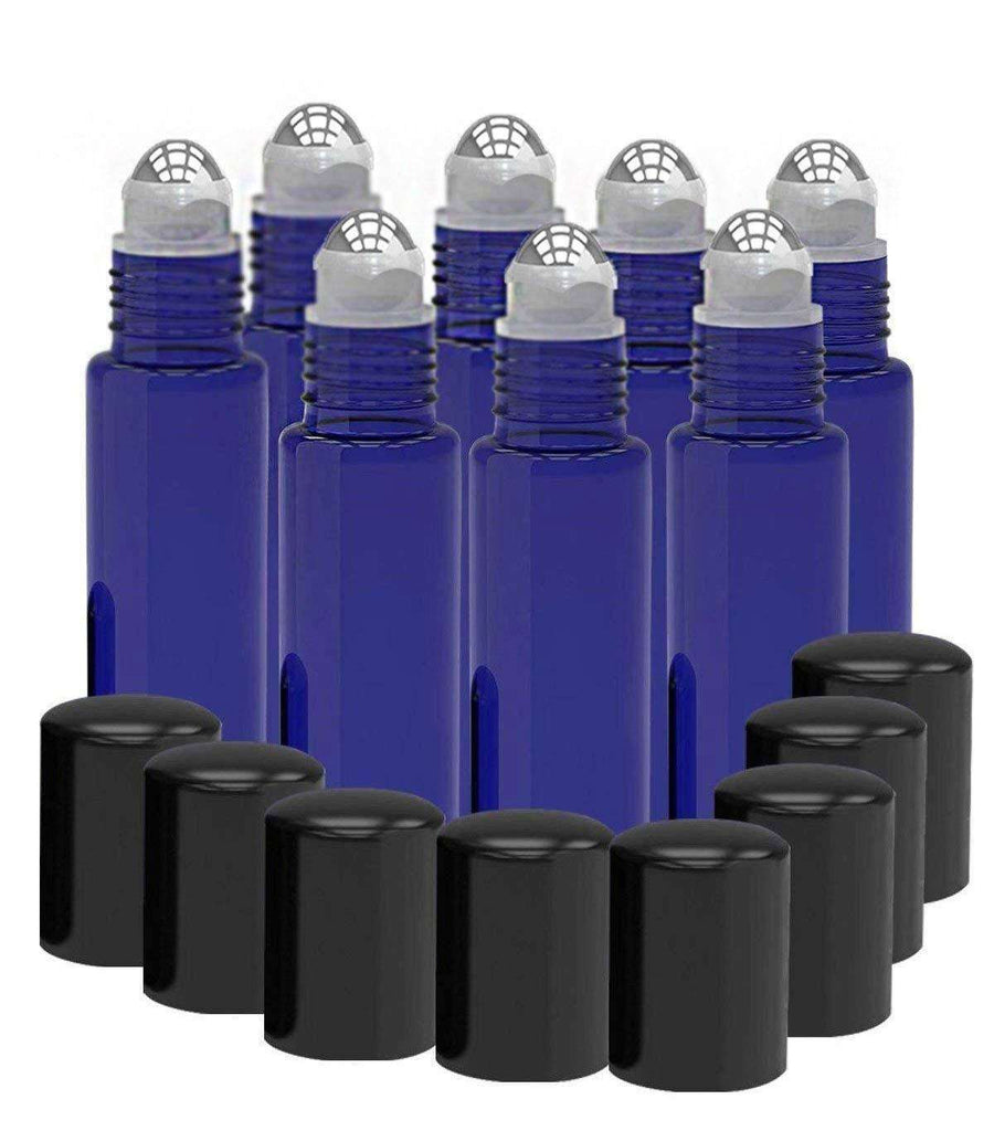 8 Pack - Essential Oil Roller Bottles [Metal Chrome Roller Ball] 10ml Refillable Glass - Blue Oil BargzOils