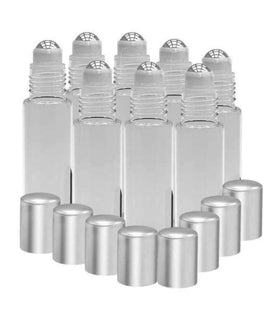 8 Pack - Essential Oil Roller Bottles [Metal Chrome Roller Ball] 10ml Refillable Glass Color Roll On for Fragrance Essential Oil (Clear Frosted) Oil BargzOils