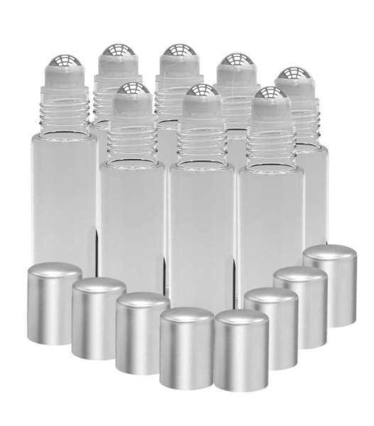 8 Pack - Essential Oil Roller Bottles [Metal Chrome Roller Ball] 10ml Refillable Glass Color Roll On for Fragrance Essential Oil (Clear Frosted)