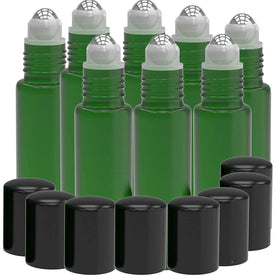 8 Pack - Essential Oil Roller Bottles [Metal Chrome Roller Ball] 10ml Refillable Glass Color Roll On for Fragrance Essential Oil (Green) Oil BargzOils