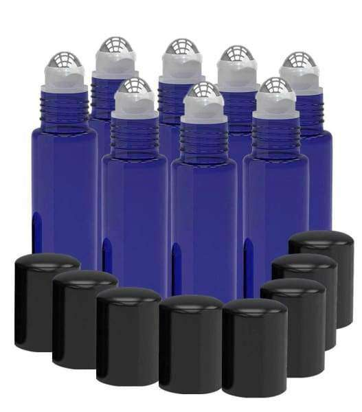 8 Pack - Essential Oil Roller Bottles [Metal Chrome Roller Ball] 10ml Refillable Glass - Frosted Blue