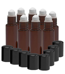 8 Pack - Essential Oil Roller Bottles [PLASTIC ROLLER] 10ml Refillable Glass - Amber Oil BargzOils
