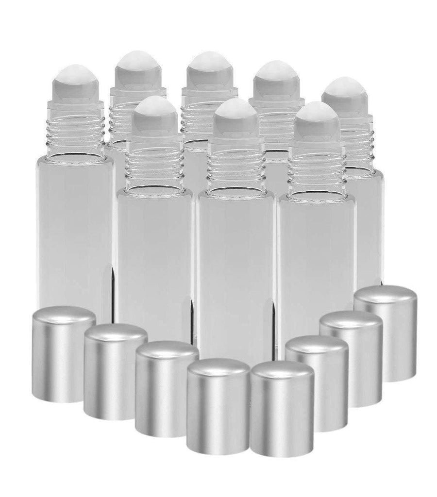 8 Pack - Essential Oil Roller Bottles [Plastic Roller] 10ml Refillable Glass - Clear