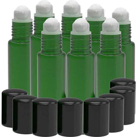 8 Pack - Essential Oil Roller Bottles [Plastic Roller] 10ml Refillable Glass Color Roll On for Fragrance Essential Oil - Plastic Roller Ball (Green) Oil BargzOils