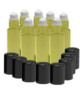 8 Pack - Essential Oil Roller Bottles [PLASTIC ROLLER] 10ml Refillable Glass Color Roll On for Fragrance Essential Oil - Metal Chrome Roller Ball - 10 ml 1/3 oz Yellow Oil BargzOils