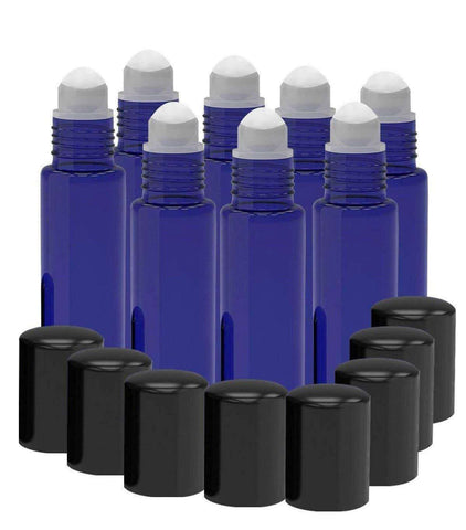 Image of 8 Pack - Essential Oil Roller Bottles [PLASTIC ROLLER BALL] 10ml Refillable Glass Color Roll On for Fragrance Essential Oil - Metal Chrome Roller Ball - 10 ml 1/3 oz (Cobalt Blue) Oil BargzOils