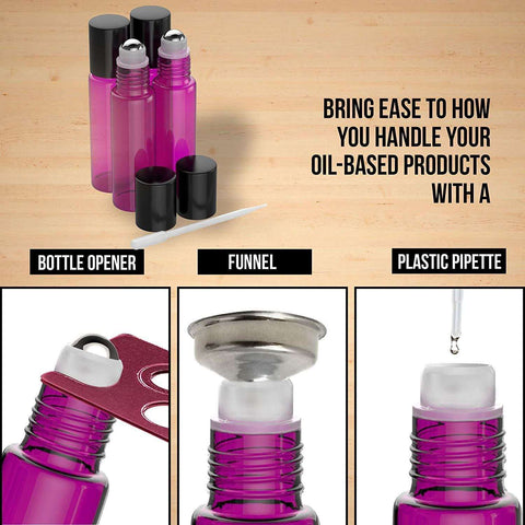 Image of 4 Pack - Essential Oil Roller Bottles [Metal Chrome Roller Ball] FREE Plastic Pippette, Funnel and Bottle Opener Refillable Glass Color Roll On for Fragrance Essential Oil - 10 ml 1/3 oz (Purple) Oil BargzOils