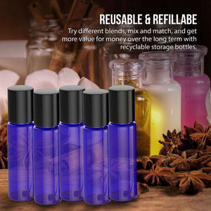 4 Pack - Essential Oil Roller Bottles [Metal Chrome Roller Ball] FREE Plastic Pippette, Funnel and Bottle Opener Refillable Glass Color Roll On for Fragrance Essential Oil - 10 ml 1/3 oz (Blue) Oil BargzOils