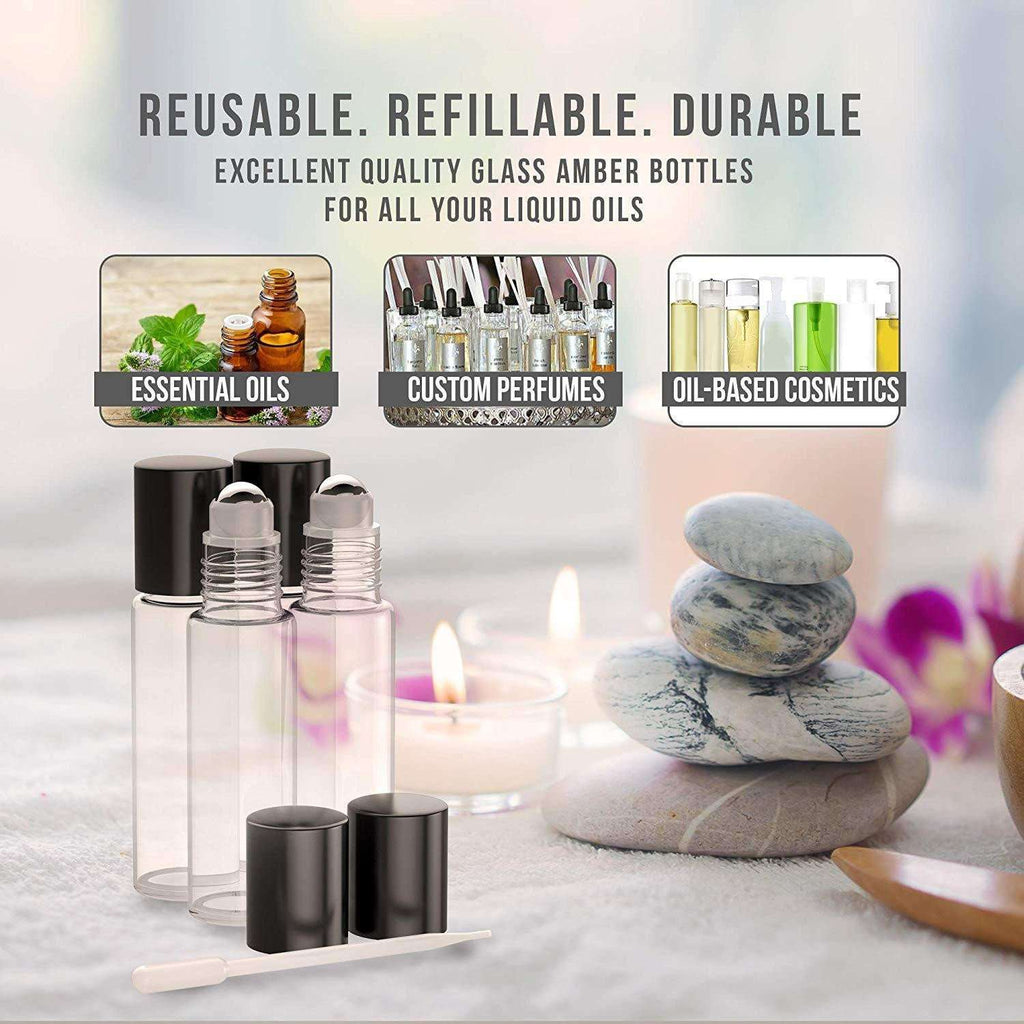 4 Pack - Essential Oil Roller Bottles [Metal Chrome Roller Ball] FREE Plastic Pippette, Funnel and Bottle Opener Refillable Glass Color Roll On for Fragrance... Oil BargzOils
