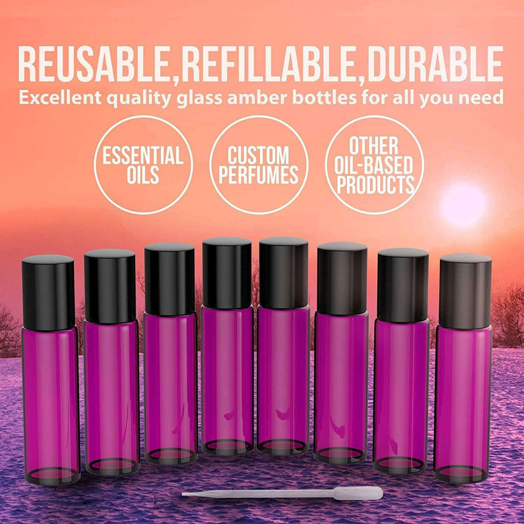 Essential Oil Roller Bottles [Metal Chrome Roller Ball] FREE Plastic Pippette, Funnel and Bottle Opener Refillable Glass Color Roll On for Fragrance Essential Oil - 10 ml 1/3 oz (8 PACK, PURPLE) Oil BargzOils