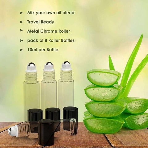 Image of 8 Pack - Essential Oil Roller Bottles [Metal Chrome Roller Ball] 10ml Refillable Glass Color Roll On for Fragrance Essential Oil (Clear Color) Oil BargzOils