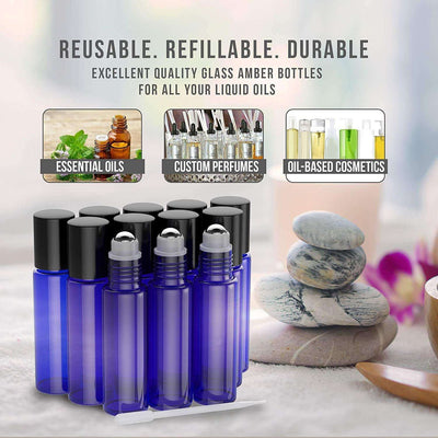12 Pack - Essential Oil Roller Bottles [Metal Chrome Roller Ball] FREE Plastic Pippette, Funnel and Bottle Opener Refillable Glass Color Roll On for Fragrance... Oil BargzOils