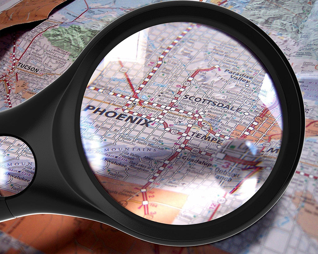 Professional Magnifying Glass [3x 10x 45x w/ 3 LED Lights] Handheld Magnifier for Reading Maps