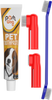 Poshwag Double Sided Dog Toothbrush With Long Curved Handle [SUPER EASY CLEANING] - Best Soft Silicone Pet Toothbrush For Cats And Dogs - Small and Large Dog Dual-End Toothbrush With 1.95oz Tootpaste