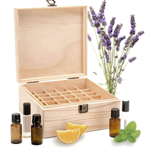 Image of 25 Slots Essential Oil Bottle Wood Storage Box Case Wood Aromatherapy Organizer 18*18*8.5 cm Pine essential oil case wooden