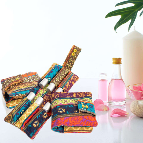 Image of 6PCS/Pack 10ml Rolling Bottle Essential Oil Bag Storage Box Canvas Case Essential Oil Storage Bags Fame Style