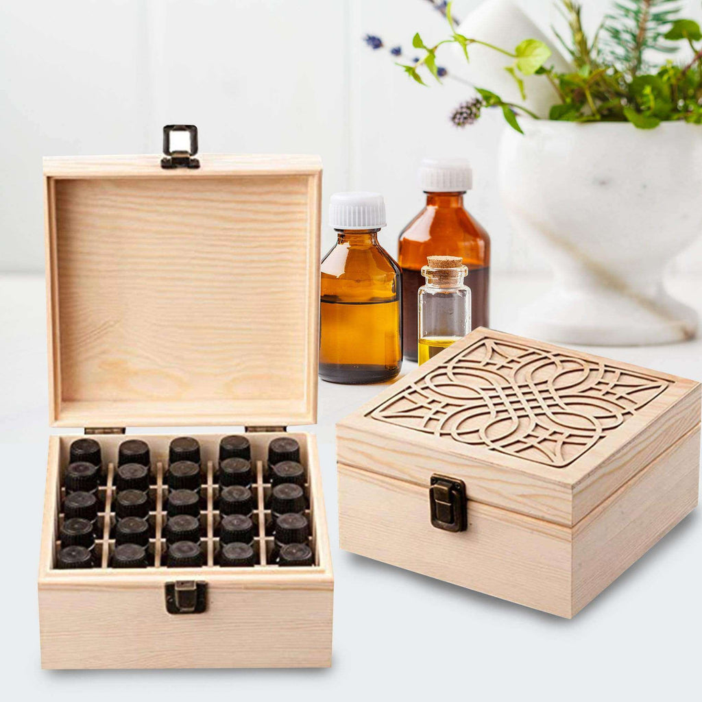 25 Slots Essential Oil Bottle Wood Storage Box Case Wood Aromatherapy Organizer 18*18*8.5 cm Pine essential oil case wooden