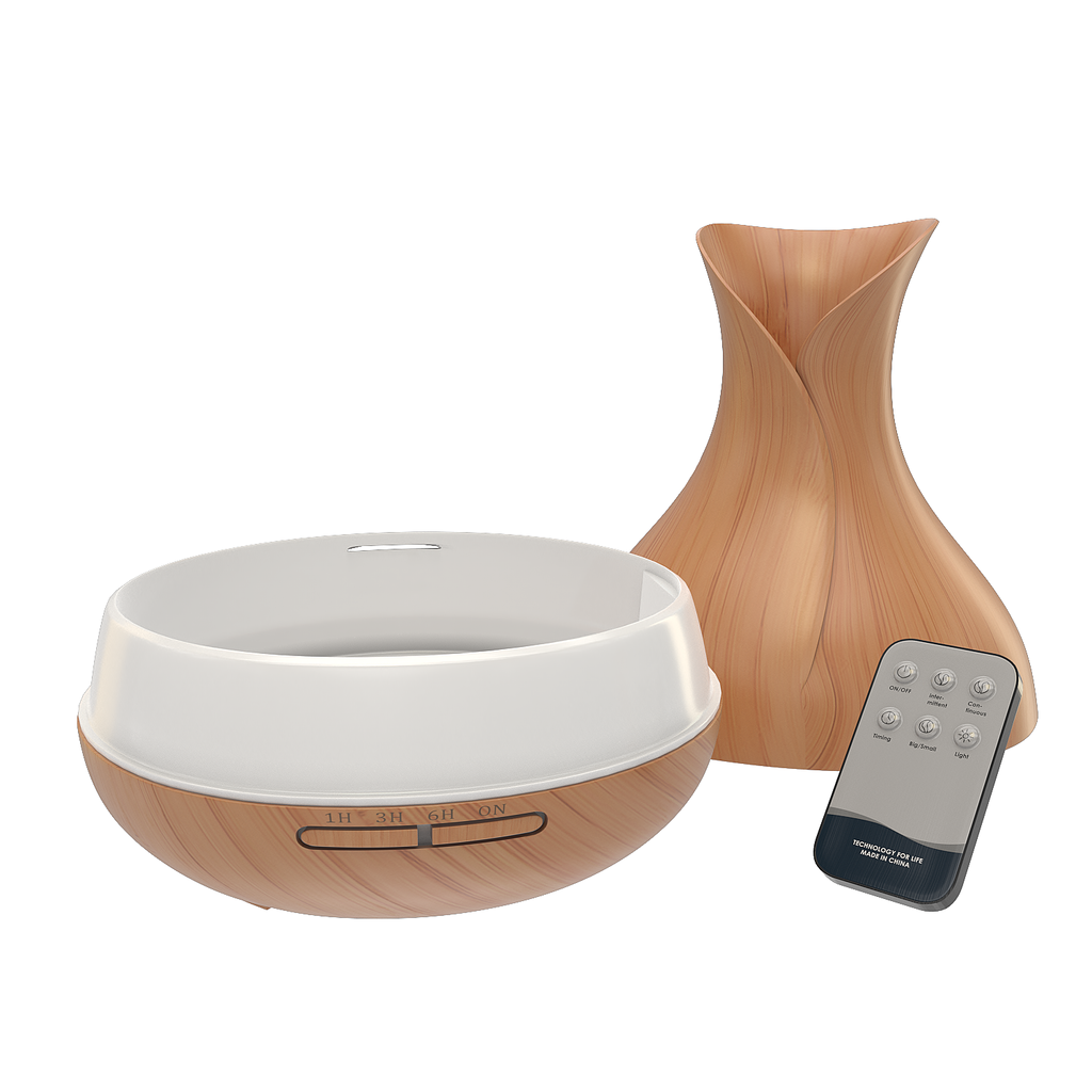 Ultrasonic Essential Oil Diffuser and Air Humidifier - Wood Grain Finish With 7 Color Changing LED Lights