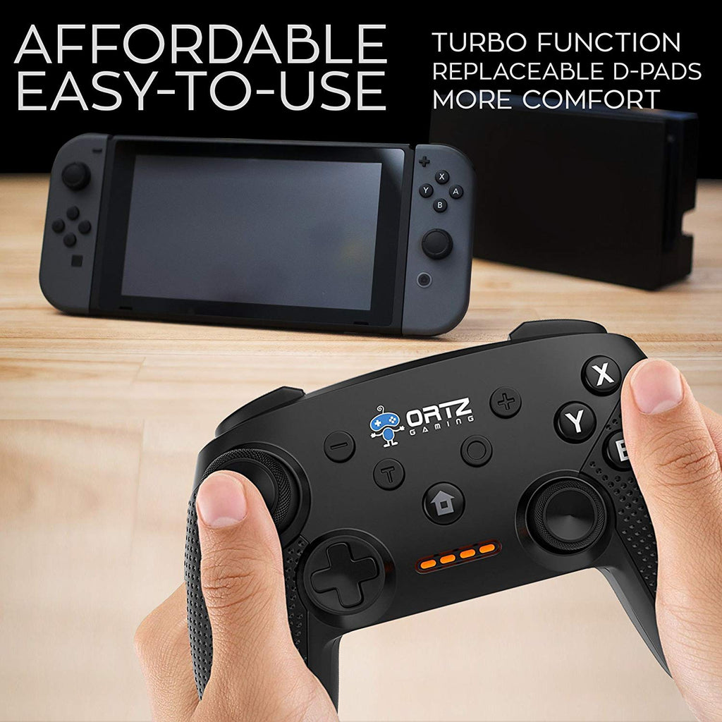 Ortz Wireless Gaming Controller Nintendo Switch [Free- Analog Replacements] GamePad Remote - Best PC USB Computer, Windows 7 &10, Android [TURBO BUTTONS]