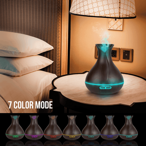 Image of 400ML USB Ultrasonic Humidifier Tulip Vase Style 5W Wood Grain Cool-Mist Aromatherapy Essential Oil Diffuser Air purifier Oil Diffuser BargzOils