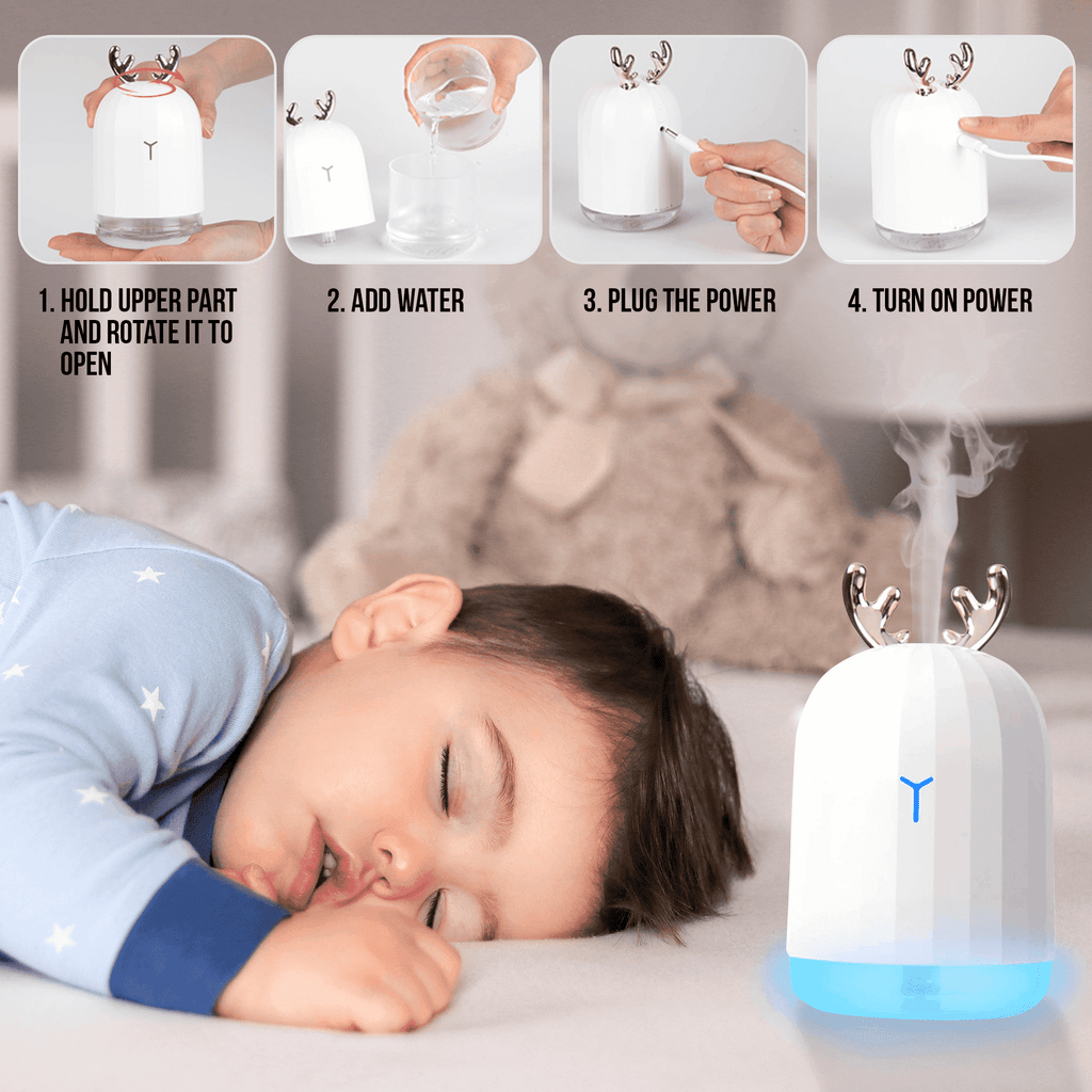 220ML Ultrasonic Deer Air Humidifier Aroma Essential Oil Diffuser for Home Car USB Fogger Mist Maker with LED Night Lamp Oil Diffuser BargzOils