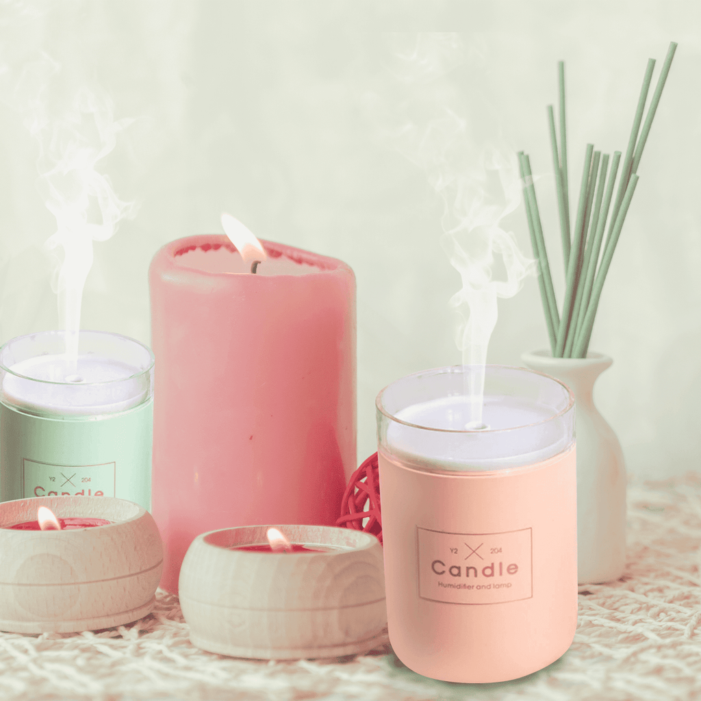 280ML Ultrasonic Air Humidifier Candle Romantic Soft Light USB Essential Oil Diffuser Car Purifier Aroma Anion Mist Maker Oil Diffuser BargzOils