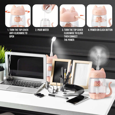 3 in 1 350ML USB Cat Air Humidifier Ultrasonic Cool-Mist Adorable Mini Humidifier With LED Light Mini USB Fan for Home office BargzOils