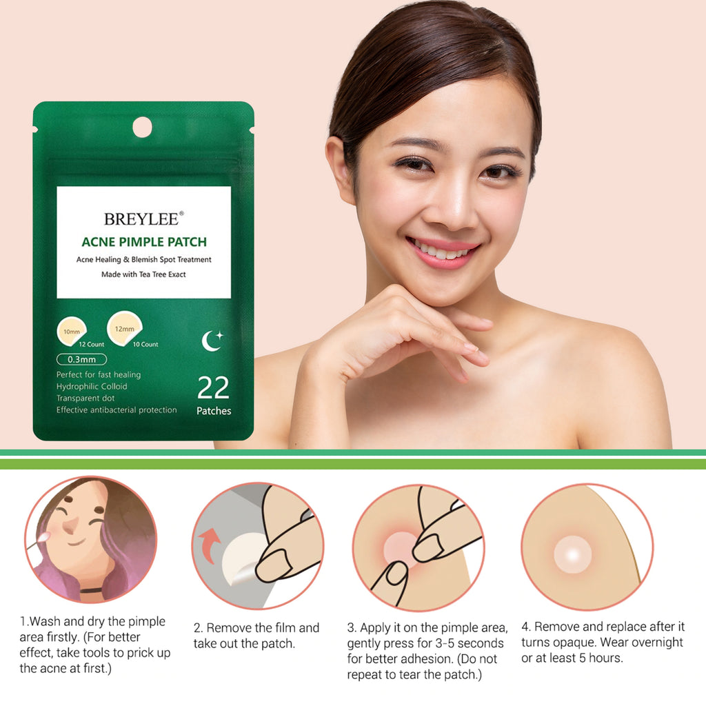 BREYLEE Acne Pimple Patch Acne Treatment Mask Stickers Pimple Remover Tool Skin Care Facial Mask Waterproof Night Use