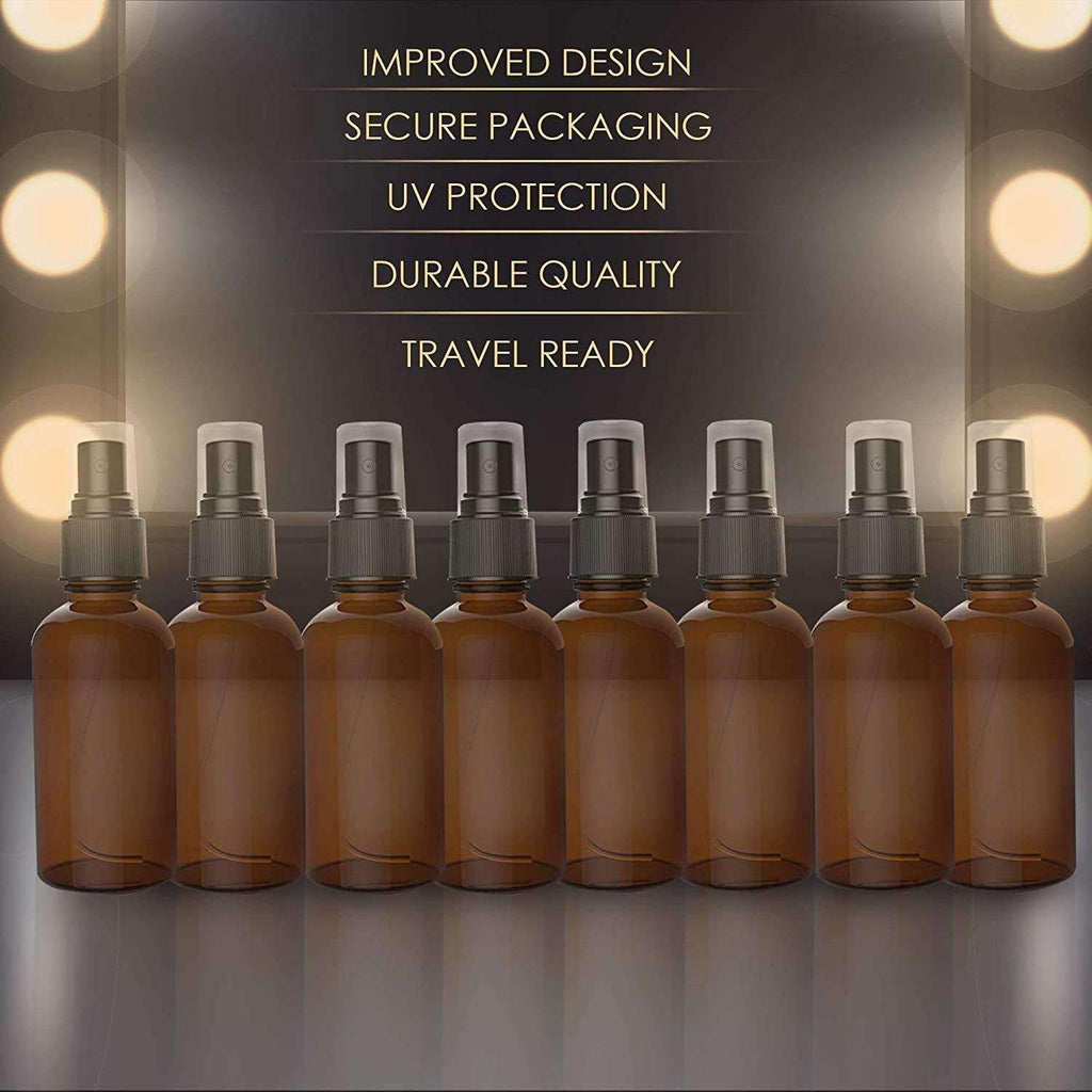Amber Spray Bottles With Dust Caps and Fine Mist Sprayers [2 Oz]