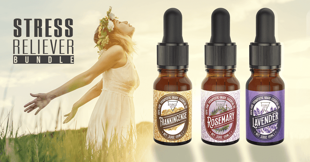 3 Pack Essential Oil Set [FRANKINCENSE, ROSEMARY, LAVENDER] - Glass Amber Bottle Organic Pure Therapeutic French for Diffuser, Aromatherapy, Headache, Pain, Sleep-Perfect For Candles Massage 10ml Oil BargzOils