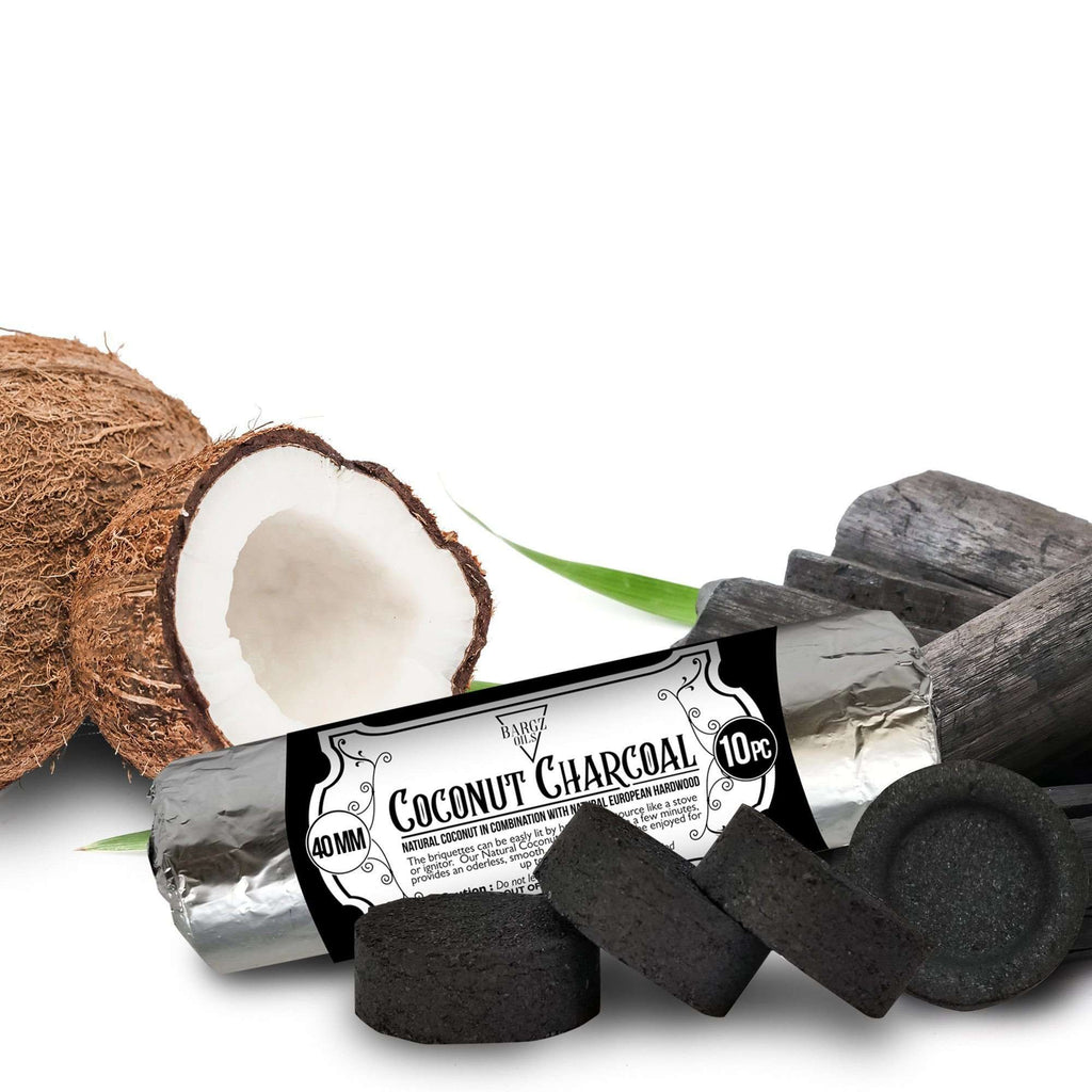 Coconut Charcoal Burning Roll for Incense Rock Fragrance, Hukkah Fire 40MM - 10 Pack BargzOils