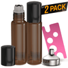 Essential Oil Roller Bottles [Metal Chrome Roller Ball] Oil BargzOils 2-Pack