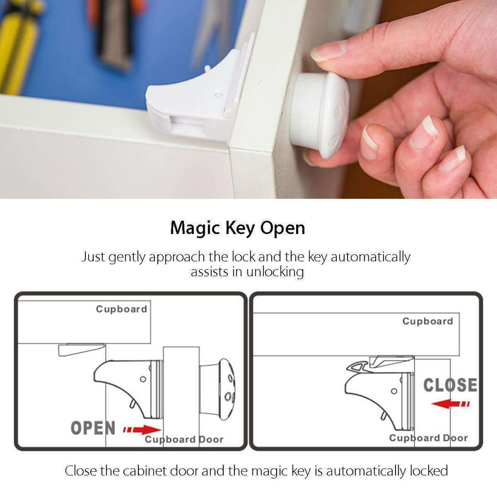 12 Locks+3 Keys Magnetic Children Lock 15 in 1 Baby Safety Baby Protection Cabinet Door Lock Kids Drawer Locker Invisible Locks BargzOils