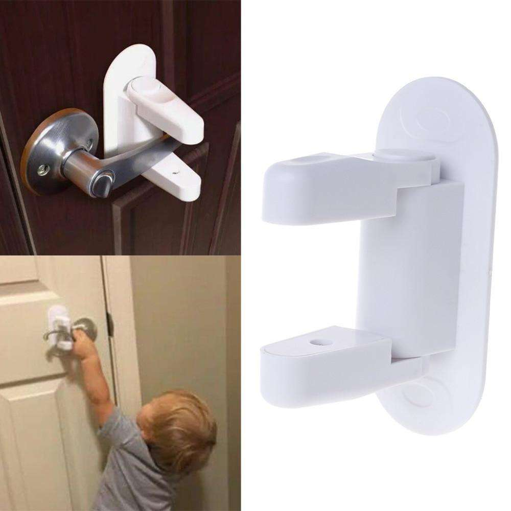 Baby Safety Lock Door Lever Home Newborn Kids Children Protection Doors Handle Universal Adhesive Compatible Professional BargzOils