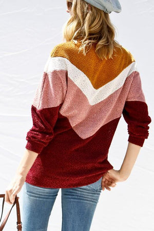 Chenille Chevron Stripe Sweater