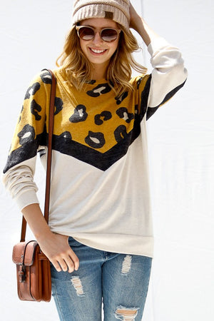 Leopard Print Chevron Top