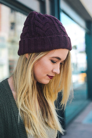 Thick Braid Knit Beanie - Burgundy
