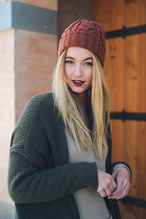 Thick Braid Knit Beanie - Camel
