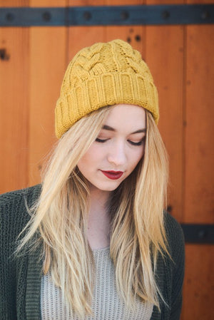 Thick Braid Knit Beanie - Mustard