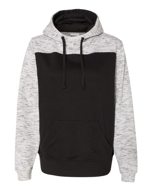 Melange Fleece Color Blocked Hoodie