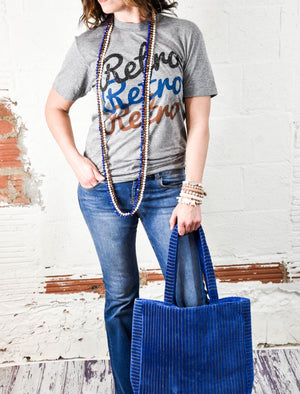Blue Velvet Tote - Junction K Boutique