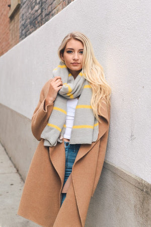 Horizontal Stripe Knit Scarf