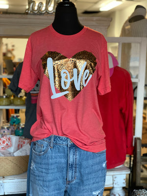 Leopard Heart Love Tshirt